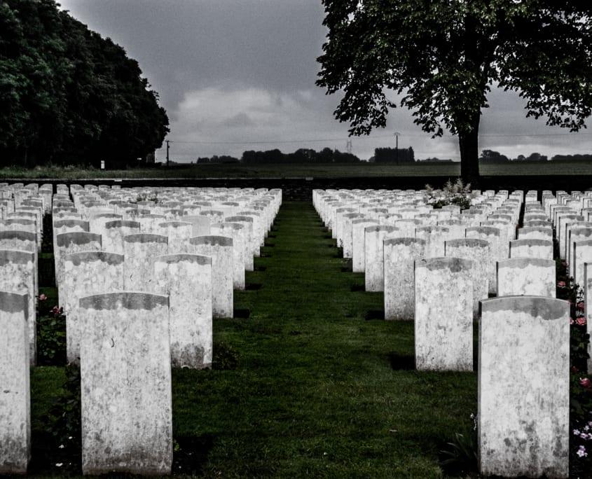 Treurige luchten op een treurige plek aan de Somme