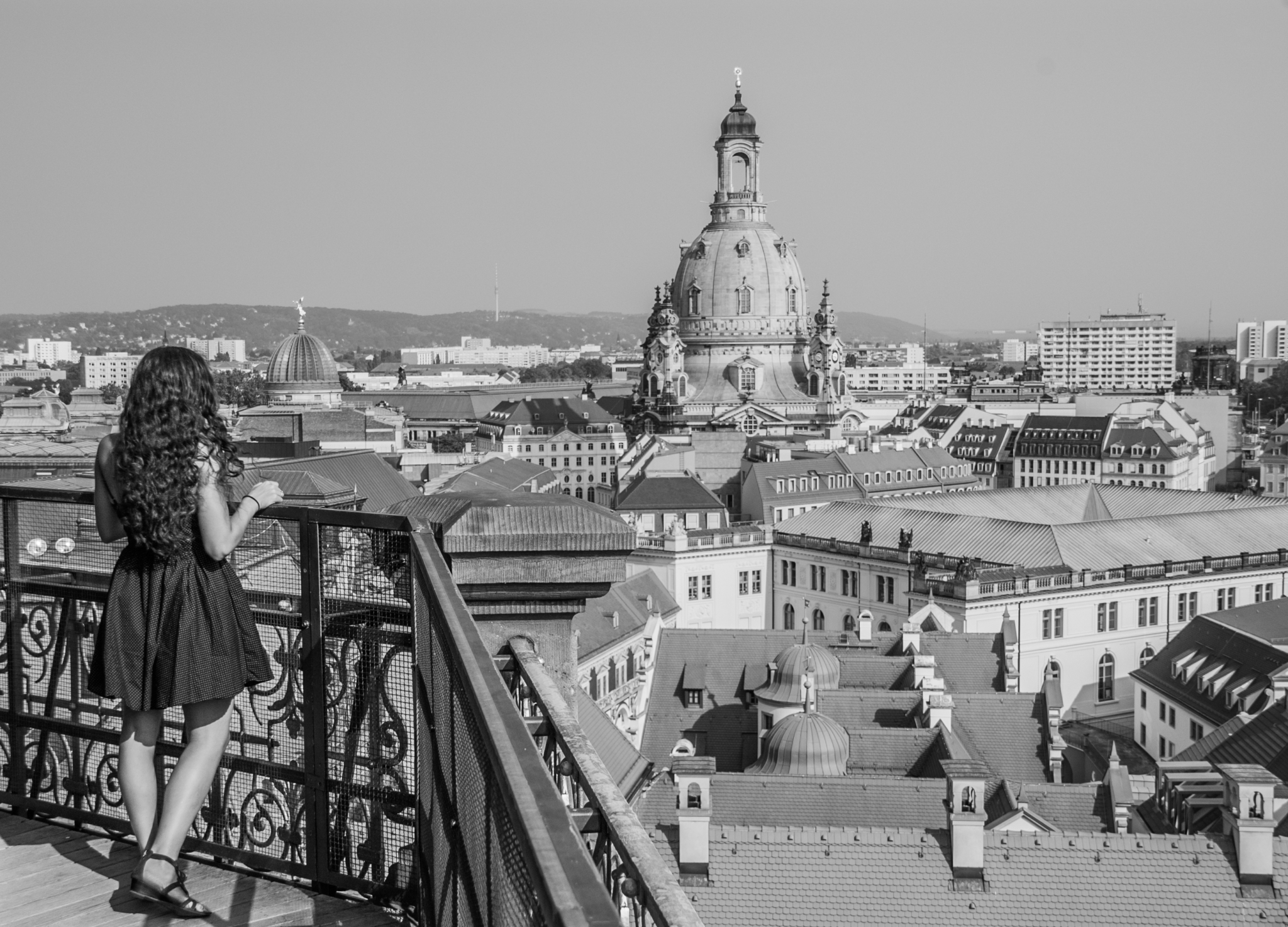 Mooi uitzicht over de binnenstad van Dresden
