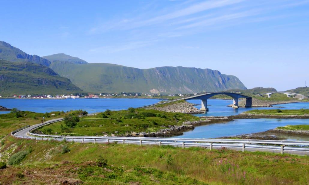 Bruggen naar Fredvang op de Lofoten