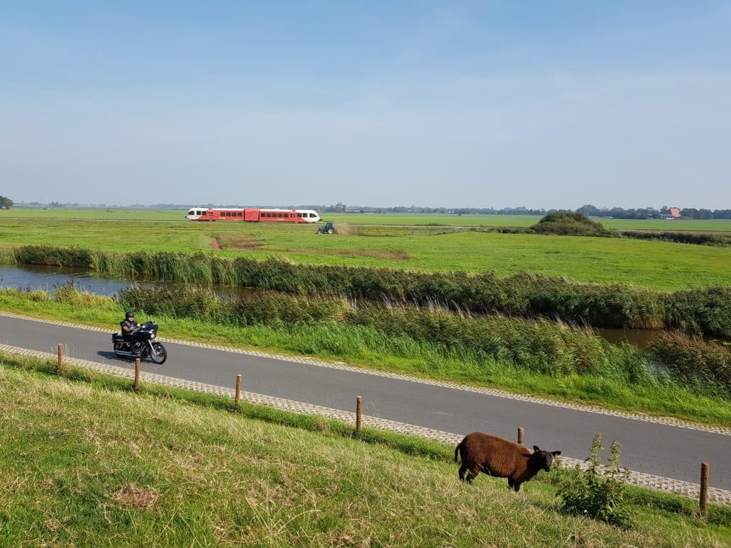 Trein tussen Workum en Stavoren in Friesland