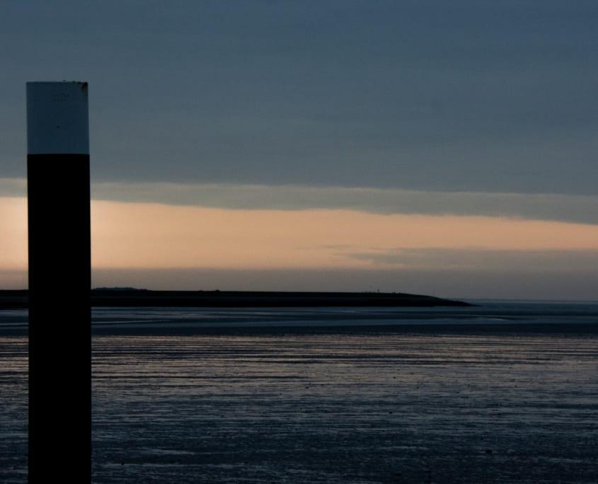 Zonsondergang boven de Waddenzee: versie 2