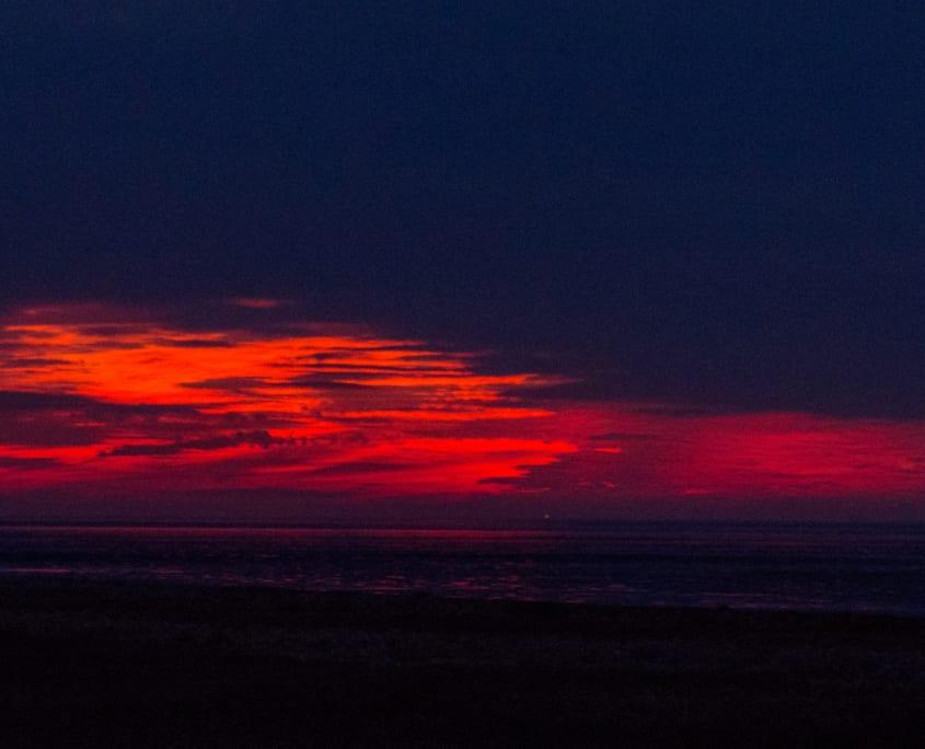 Zonsondergang boven de Waddenzee: versie 3